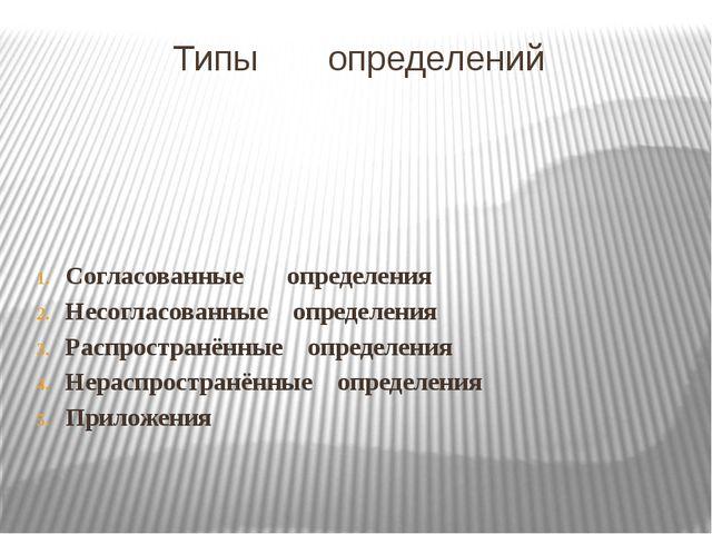 Типы определений Согласованные определения Несогласованные определения Распро...
