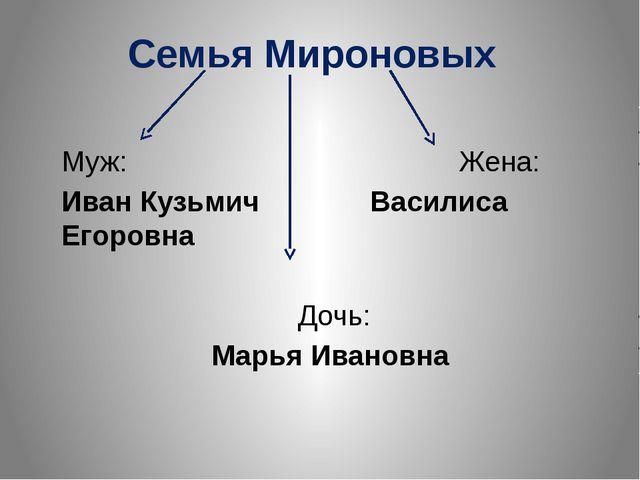 Семья Мироновых Муж: Жена: Иван Кузьмич Василиса Егоровна Дочь: Марья Ивановна