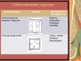 2.Изготовление подушки Этапы работыЭскизыМатериалы и инструменты 4.Изготовл
