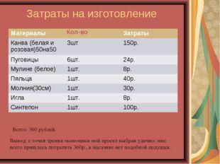 Затраты на изготовление Всего: 360 рублей. Вывод: с точки зрения экономики мо