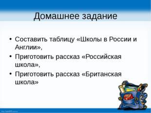 Домашнее задание Составить таблицу «Школы в России и Англии», Приготовить рас