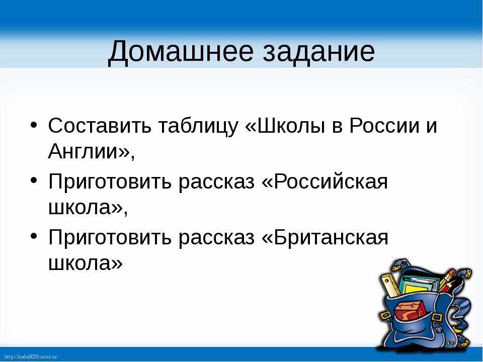 Домашнее задание Составить таблицу «Школы в России и Англии», Приготовить рас...