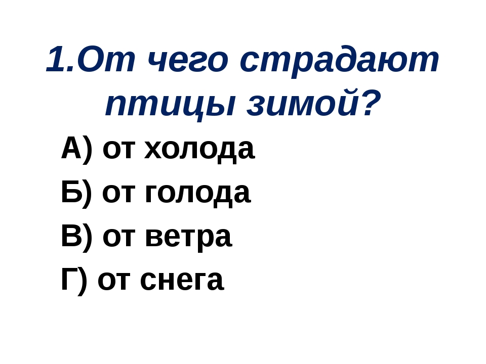 1.От чего страдают птицы зимой? А) от холода Б) от голода В) от ветра Г) от с...
