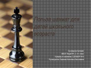 Польза шахмат для детей школьного возраста Суховерков Артемий, МБОУ Лицей №1,