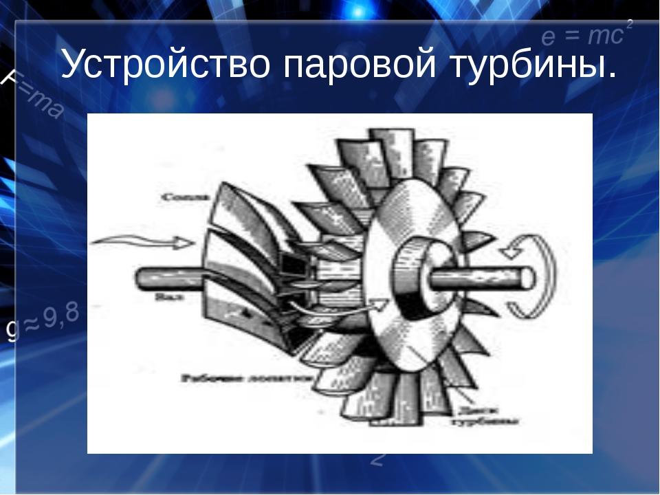 Устройство паровой турбины.