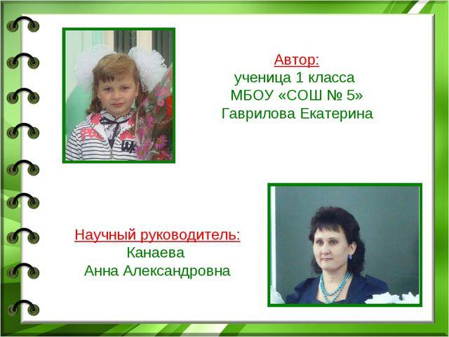 Автор: ученица 1 класса МБОУ «СОШ № 5» Гаврилова Екатерина Научный руководит...