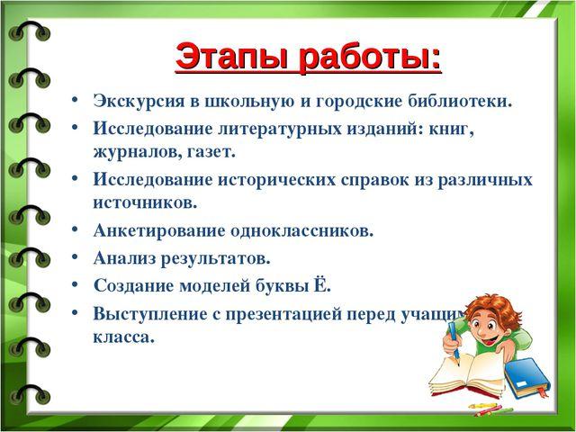 Этапы работы: Экскурсия в школьную и городские библиотеки. Исследование лите...