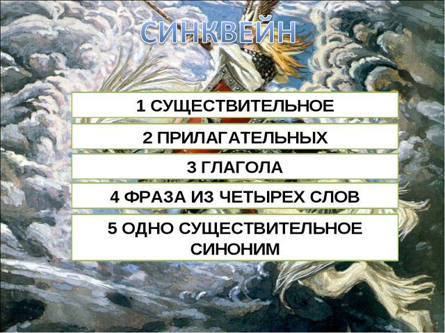1 СУЩЕСТВИТЕЛЬНОЕ 2 ПРИЛАГАТЕЛЬНЫХ 3 ГЛАГОЛА 4 ФРАЗА ИЗ ЧЕТЫРЕХ СЛОВ 5 ОДНО С...