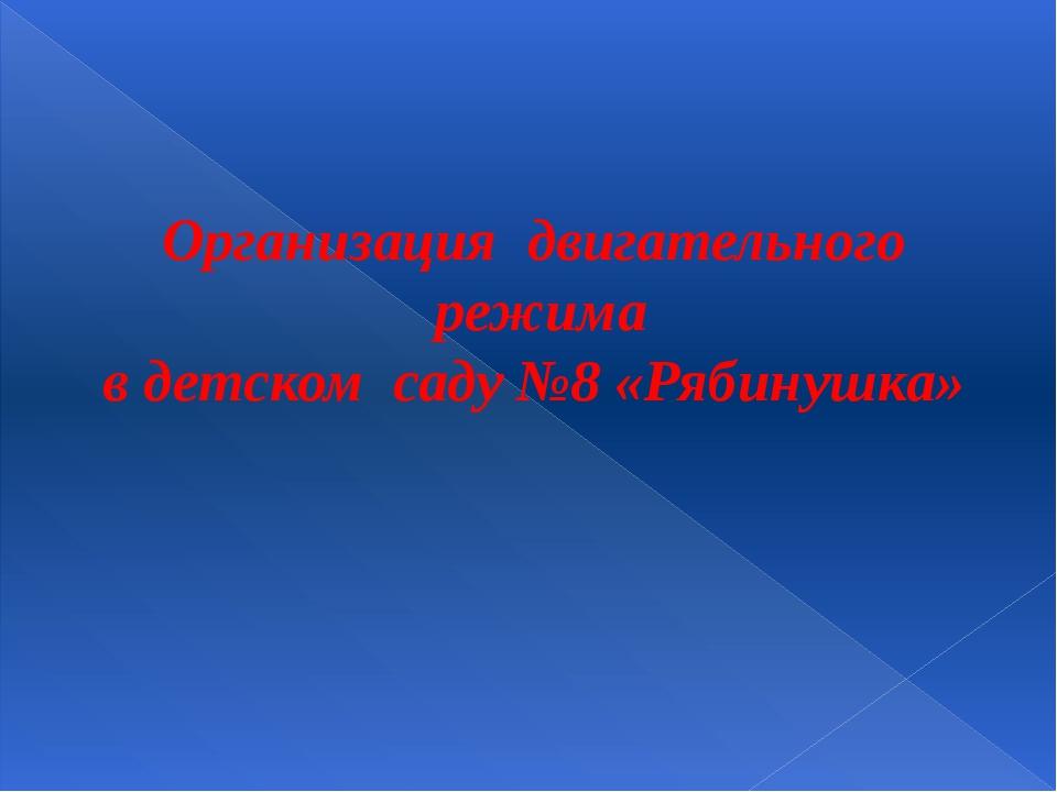 Организация двигательного режима в детском саду №8 «Рябинушка»