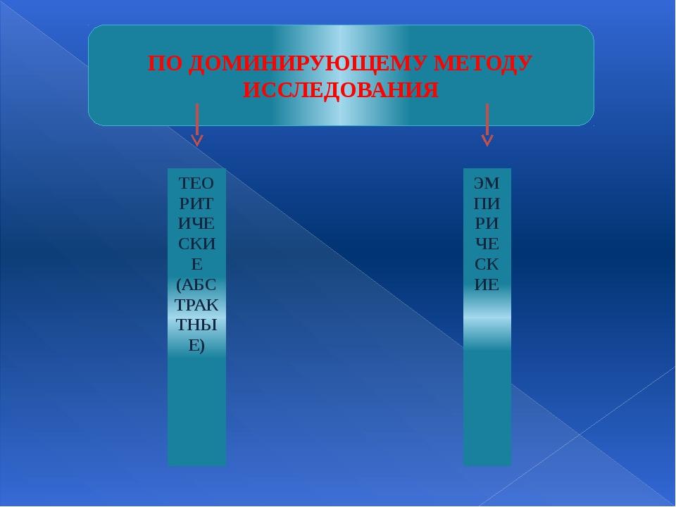 ТЕОРИТИЧЕСКИЕ (АБСТРАКТНЫЕ) ЭМПИРИЧЕСКИЕ ПО ДОМИНИРУЮЩЕМУ МЕТОДУ ИССЛЕДОВАНИЯ