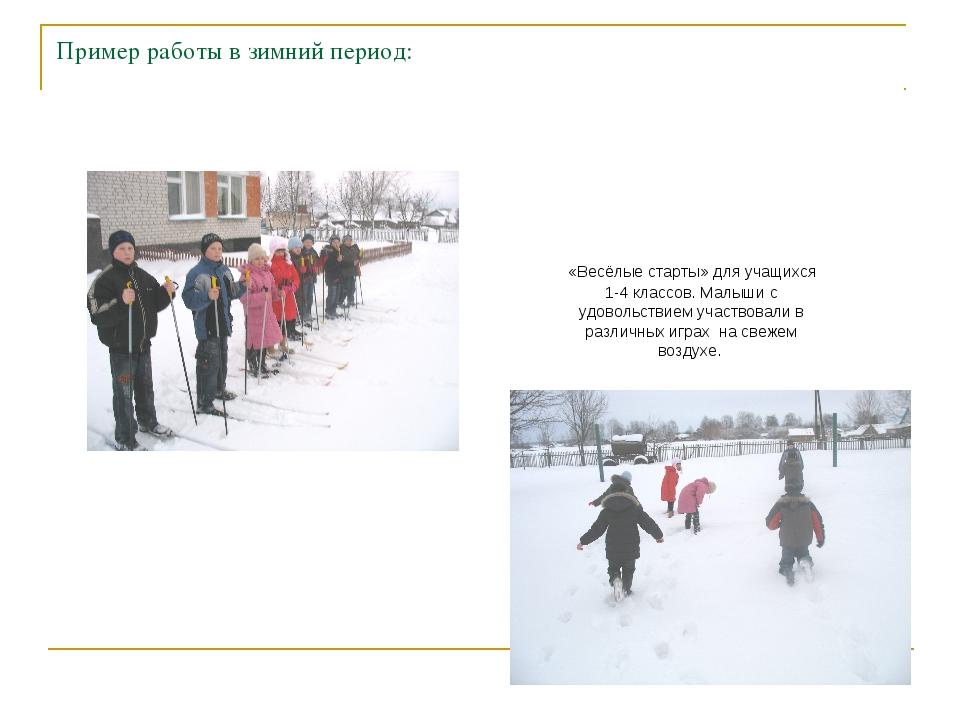 Пример работы в зимний период: «Весёлые старты» для учащихся 1-4 классов. Мал...