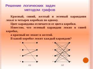 Решение логических задач методом графов Красный, синий, желтый и зеленый кара