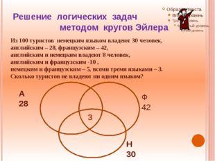 Решение логических задач методом кругов Эйлера Из 100 туристов немецким языко