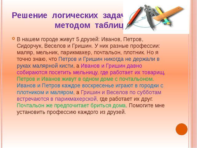 Решение логических задач методом таблиц В нашем городе живут 5 друзей: Иванов...