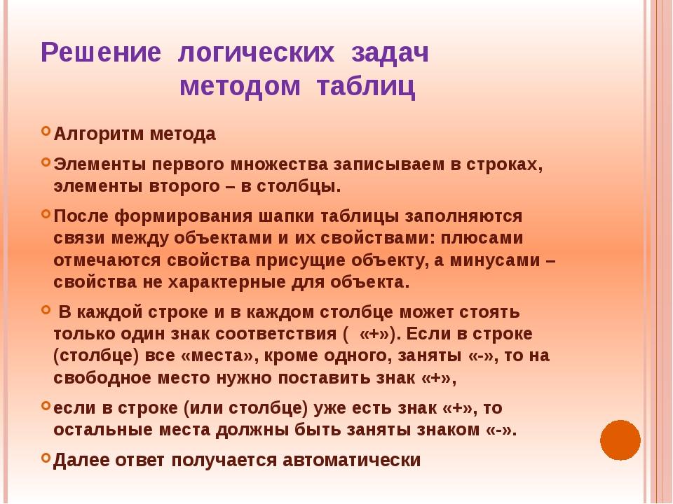 Решение логических задач методом таблиц Алгоритм метода Элементы первого множ...