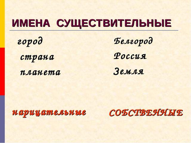 ИМЕНА СУЩЕСТВИТЕЛЬНЫЕ город страна планета Белгород Россия Земля нарицательны...