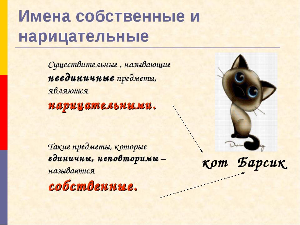 Имена собственные и нарицательные Существительные , называющие неединичные пр...