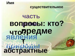существительное Имя часть речи вопросы: кто? что? предмет явления природы соб