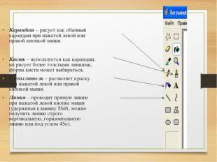 Карандаш – рисует как обычный карандаш при нажатой левой или правой кнопкой м