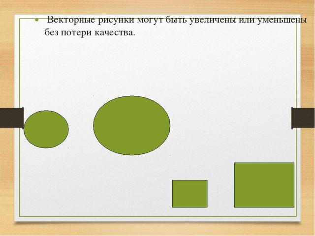 Векторные рисунки могут быть увеличены или уменьшены без потери качества.