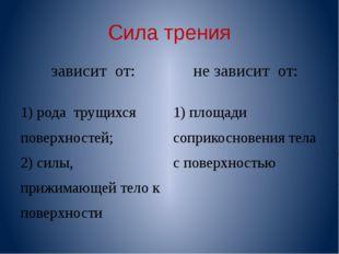 Сила трения зависит от: не зависит от: 1) рода трущихся поверхностей; 2) силы