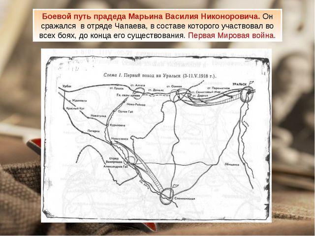 Боевой путь прадеда Марьина Василия Никоноровича. Он сражался в отряде Чапаев...