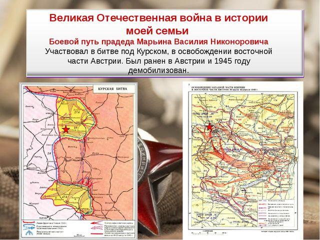 Великая Отечественная война в истории моей семьи Боевой путь прадеда Марьина...