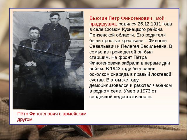 Вьюгин Петр Финогенович - мой прадедушка, родился 26.12.1911 года в селе Сюз...