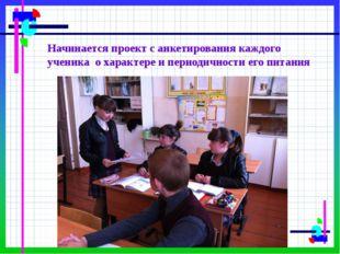 Начинается проект с анкетирования каждого ученика о характере и периодичности