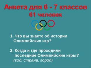 1. Что вы знаете об истории Олимпийских игр? 2. Когда и где проходили последн