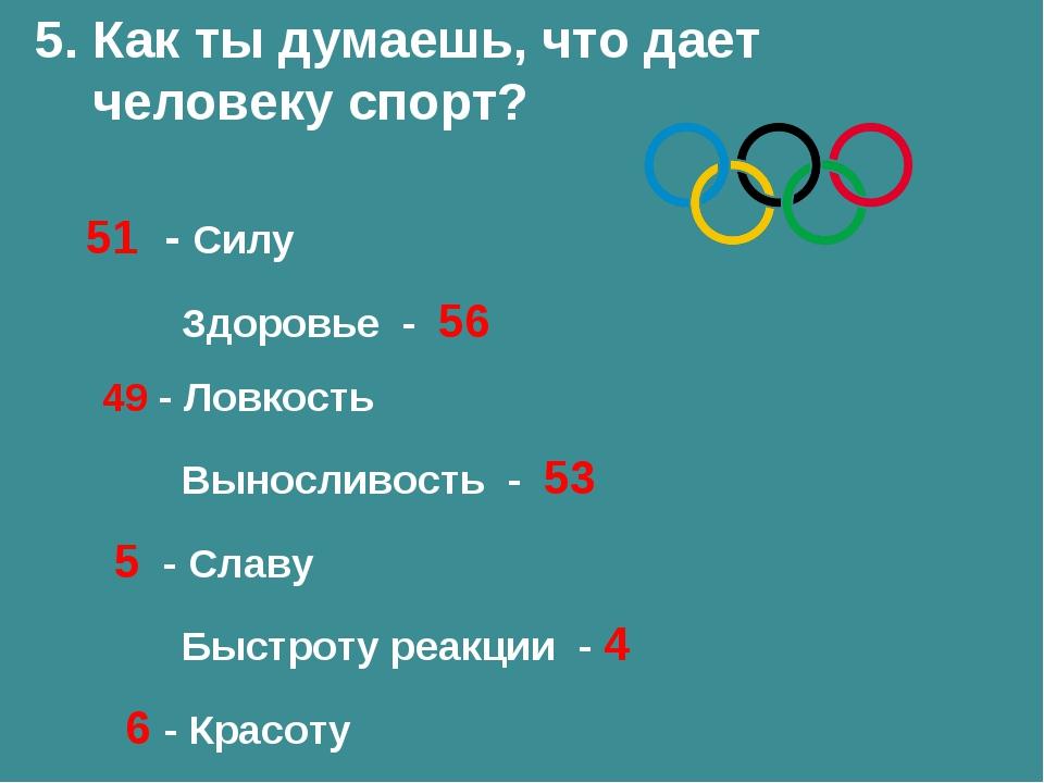 5. Как ты думаешь, что дает человеку спорт? 51 - Силу Здоровье - 56 49 - Ловк...