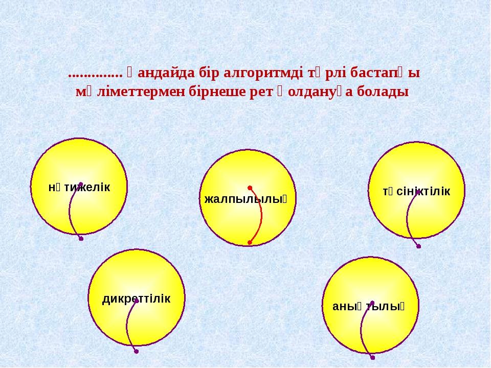 жалпылылық нәтижелік түсініктілік дикреттілік анықтылық .............. қандай...