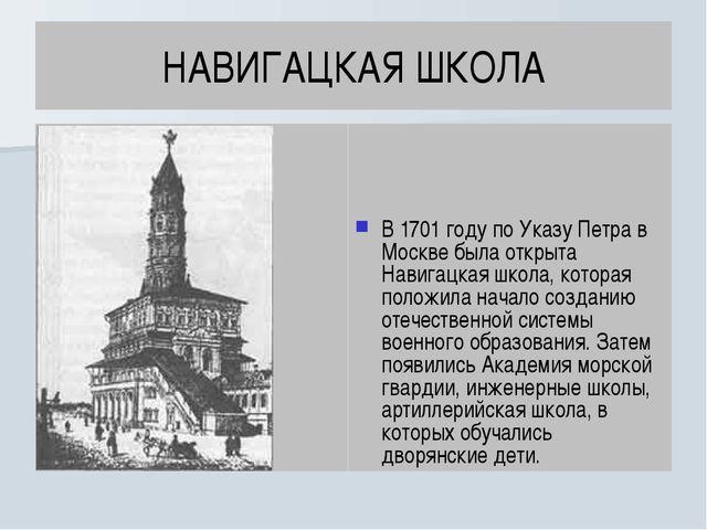 НАВИГАЦКАЯ ШКОЛА В 1701 году по Указу Петра в Москве была открыта Навигацкая...
