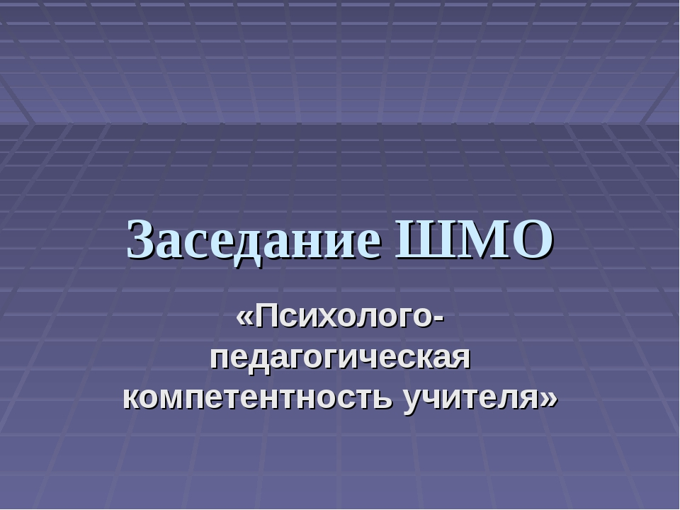 Заседание ШМО «Психолого-педагогическая компетентность учителя»