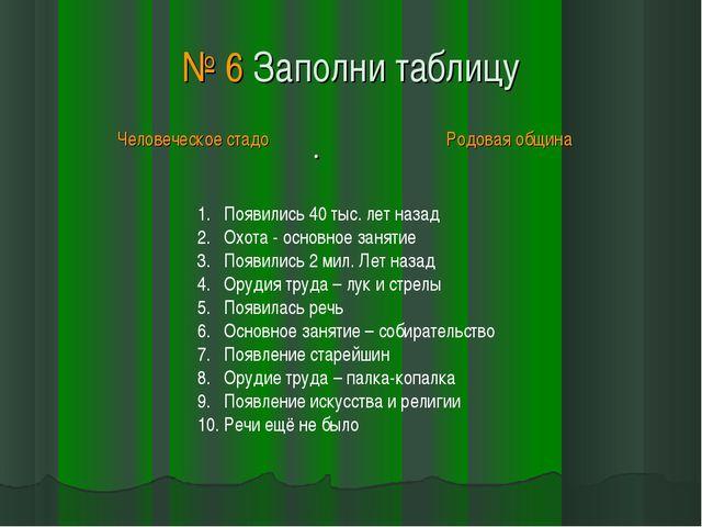 № 6 Заполни таблицу . Появились 40 тыс. лет назад Охота - основное занятие По...