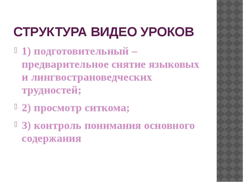 СТРУКТУРА ВИДЕО УРОКОВ 1) подготовительный – предварительное снятие языковых...