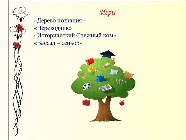 Игры «Дерево познания» «Переводчик» «Исторический Снежный ком» «Вассал – сен...