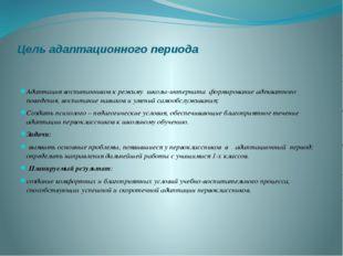 Цель адаптационного периода Адаптация воспитанников к режиму школы-интерната
