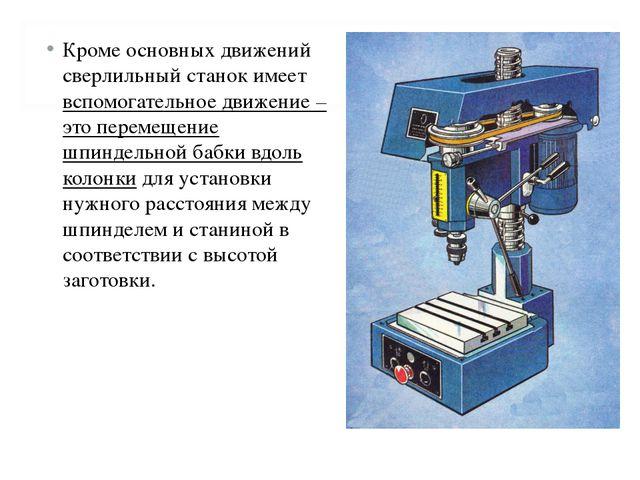 Кроме основных движений сверлильный станок имеет вспомогательное движение – э...