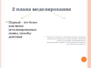 2 плана моделирования Первый – это более или менее детализированные схемы, сп