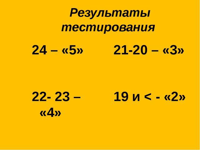 Результаты тестирования 24 – «5» 21-20 – «3» 22- 23 – «4» 19 и < - «2»