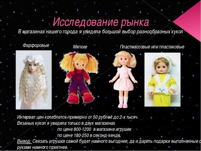 Исследование рынка Интервал цен колеблется примерно от 50 рублей до 2-х тысяч...