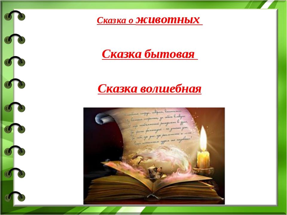 Cказка о животных Сказка бытовая Сказка волшебная