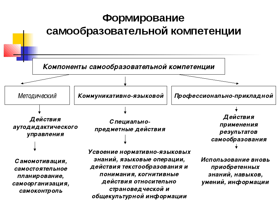 Компоненты самообразовательной компетенции Методический Коммуникативно-языков...