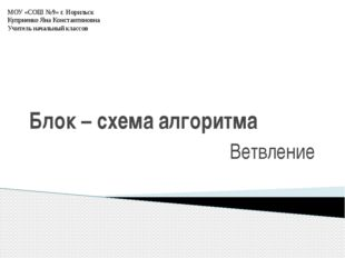Блок – схема алгоритма Ветвление МОУ «СОШ №9» г. Норильск Куприенко Яна Конст