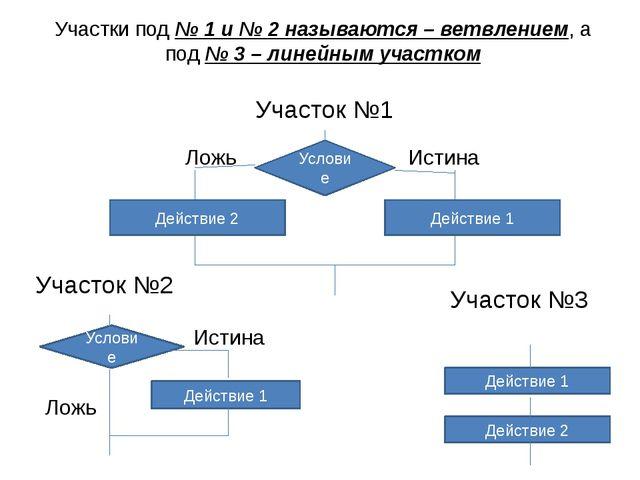 Участки под № 1 и № 2 называются – ветвлением, а под № 3 – линейным участком...