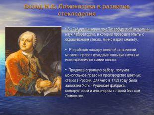 В 1748 организовал при Петербургской академии наук лабораторию, в которой пр