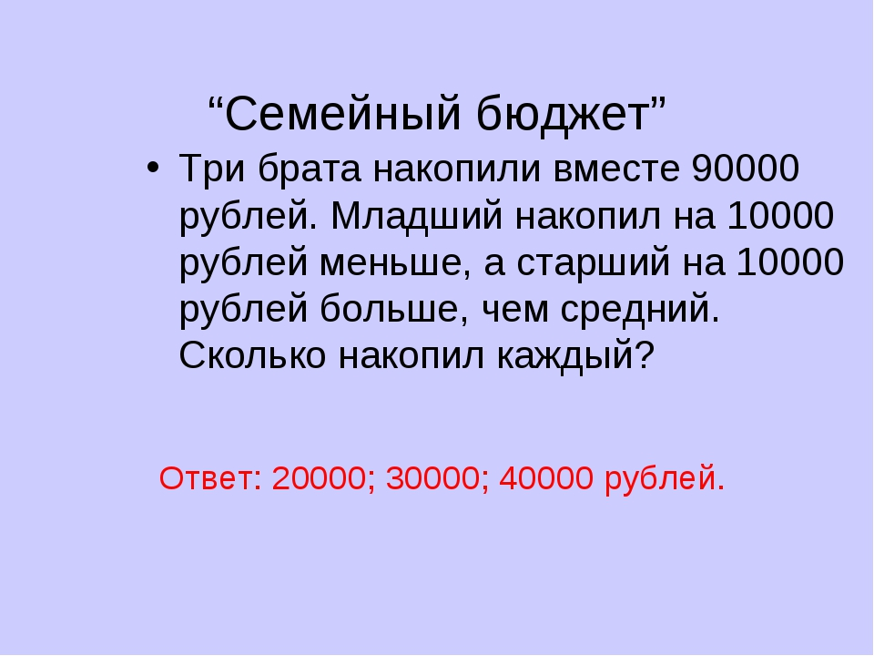 """Семейный бюджет"" Три брата накопили вместе 90000 рублей. Младший накопил на..."