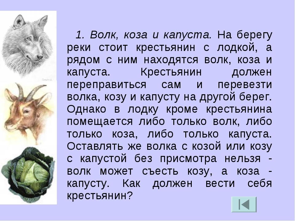 1. Волк, коза и капуста. На берегу реки стоит крестьянин с лодкой, а рядом с...