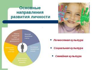 Основные направления развития личности Личностная культура Социальная культур